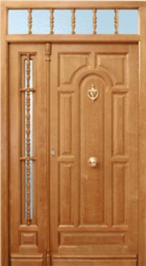 Puerta de calle 8 tableros curva ciega con montante y fijo for Puertas de madera maciza exterior