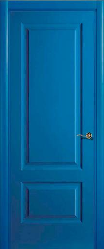 Puerta lacada azul 2 cuadros recta 190 euros puertas for Presupuesto puertas de madera