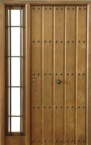 Puertas de calle rustica de clavos y 1 fijo puertas for Puertas de madera maciza exterior