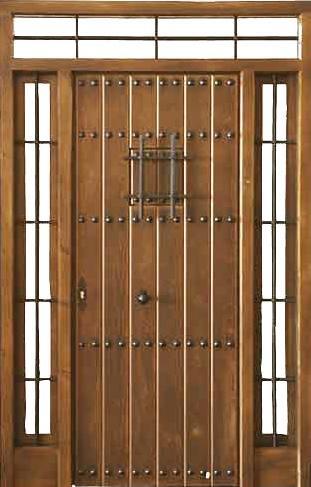 Puertas de calle rustica de clavos con ventanillo 2 fijos for Puertas para calle modernas