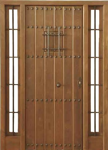 Puertas de calle rustica de clavos con ventanillo y 2 for Puertas de madera exterior modernas precios
